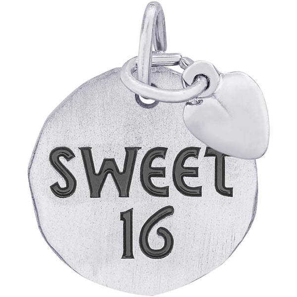 Sweet Sixteen Charm Tag With Heart Accent