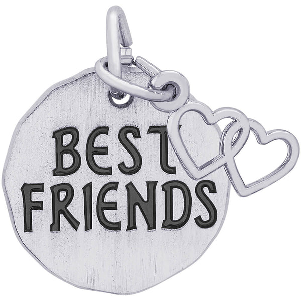 Best Friends Charm Tag With Two Open Hearts Accent