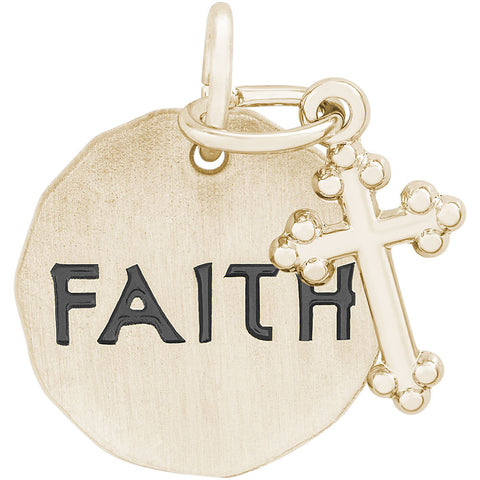 Faith Charm Tag With Botonny Cross Accent