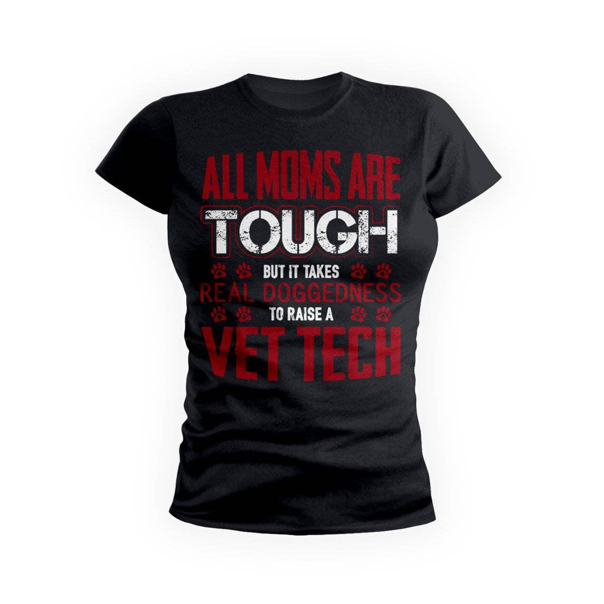 Red Tough Vet Tech Mom