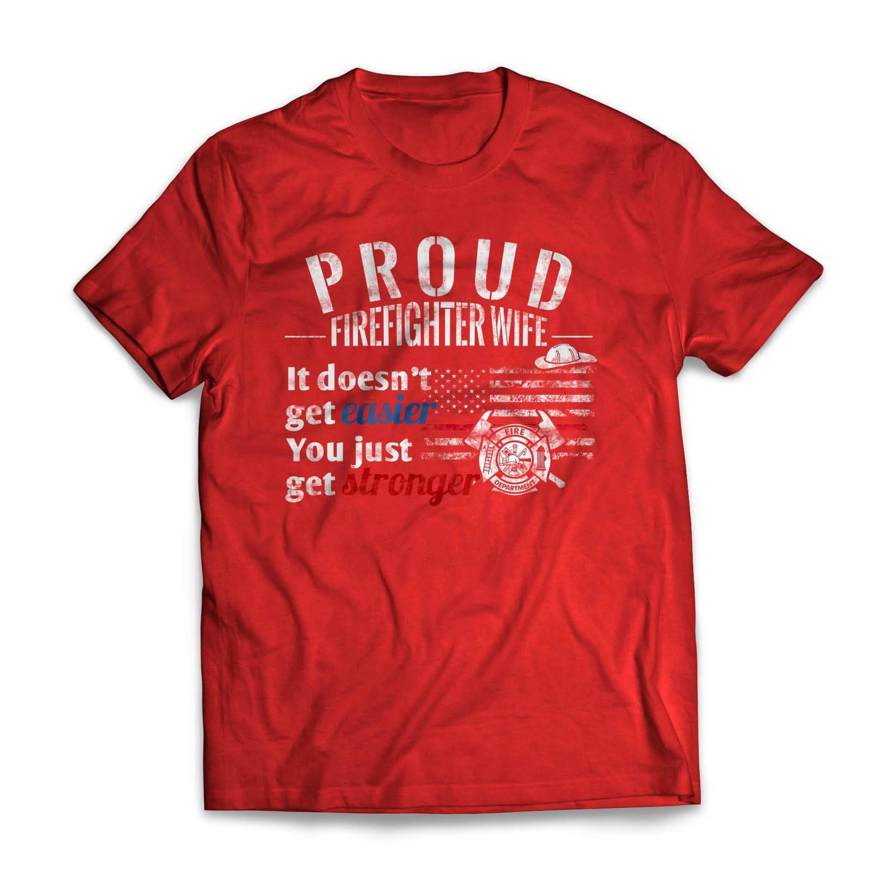 Proud Firefighter Wife Red