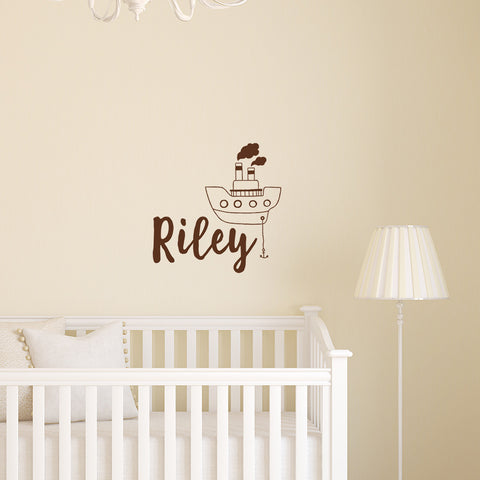 Monogram with cute cartoon style boat | Nursery name Decal