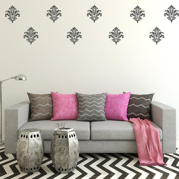 Set of 25 Damask Wall Stickers | 2 sizes available to choose from - Adnil Creations