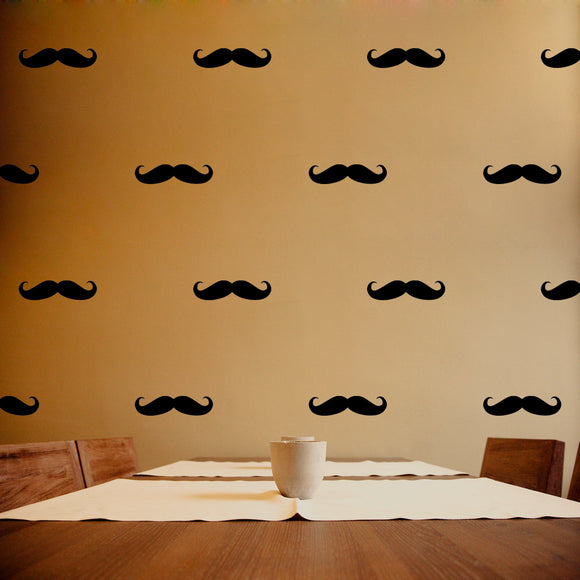 Set of 50 Moustache Wall Stickers | 4 sizes available to choose from