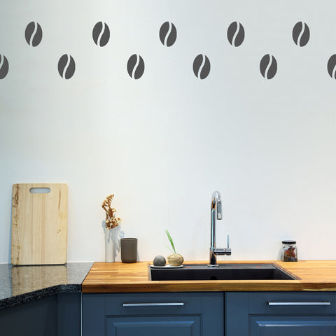 Set of 50 Coffee Bean Wall Stickers - 3 sizes available to choose from