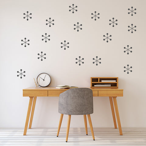 Set of 50 Atomic Starburst Wall Stickers | 3 sizes available to choose from