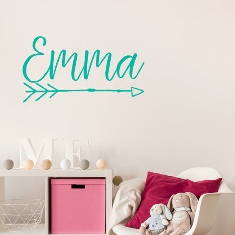 Script name decal with bohemian arrow | Monogram name decal