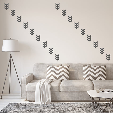 Set of 50 Triple Chevron Wall Stickers - 3 sizes available to choose from