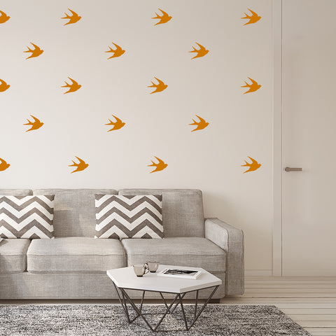 Set of 50 Swallows Wall Stickers - 3 sizes available to choose from