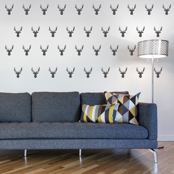 Set of 50 Stag Head Wall Stickers | 2 sizes available to choose from