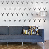 Set of 50 Stag Head Wall Stickers | 3 sizes available to choose from | Repeating Pattern | Adnil Creations
