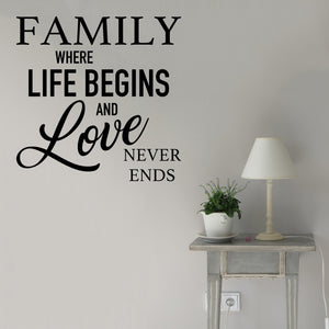 Family where life begins and love never ends | Wall Quote | Wall Quote | Adnil Creations