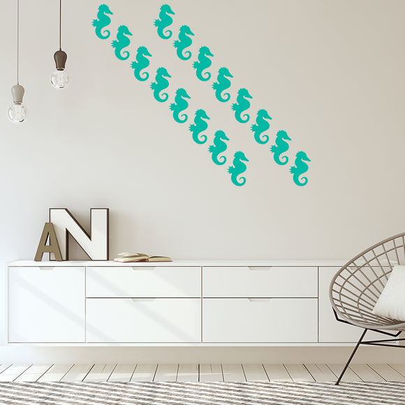 Set of 50 Seahorse Wall Stickers | 4 sizes available to choose from | Repeating Pattern | Adnil Creations
