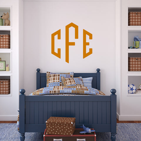Honeycomb with initials | Monogram Decal