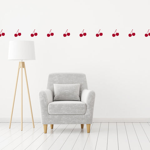 Set of 50 Cherries Wall Stickers - 3 sizes available to choose from
