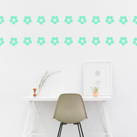 Set of 50 Flower Wall Stickers | 5 sizes available to choose from | Repeating Pattern | Adnil Creations