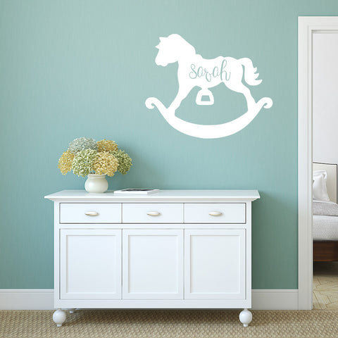 Rocking horse with name | Monogram Decal