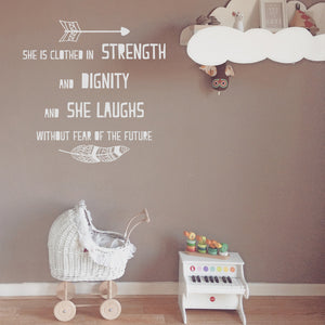 She Is clothed In strength and dignity | Wall Quote | Wall Quote | Adnil Creations