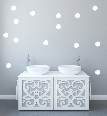 Set of 50 Bathroom Bubble Wall Stickers - 3 sizes available to choose from