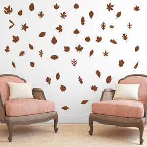 Set of 50 Autumn Leaves Wall Stickers | 2 sizes available