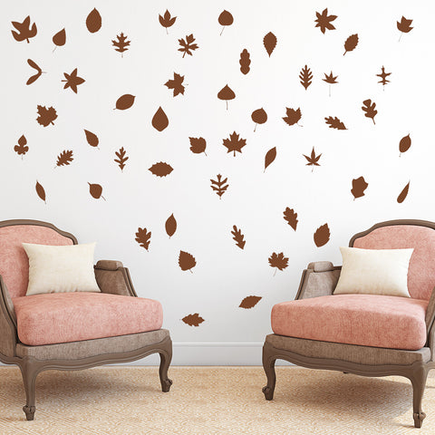 Set of 50 Autumn Leaves Wall Stickers | 2 sizes available to choose from