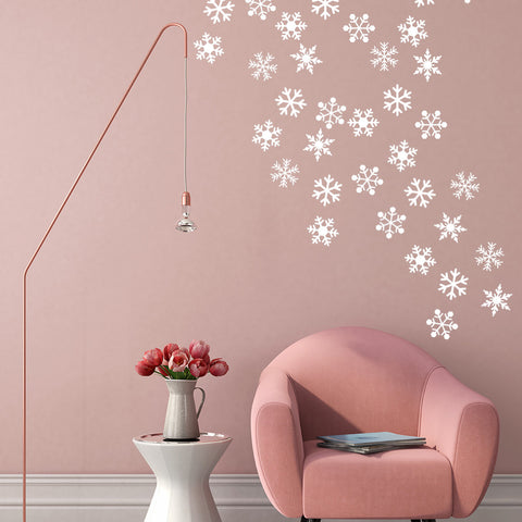 Set of 50 Snowflake Wall Stickers - 2 sizes available to choose from