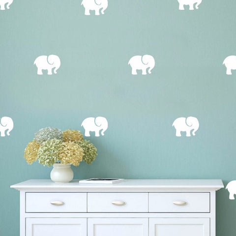 Set of 50 Elephants Wall Stickers - 4 sizes available to choose from - Repeating Pattern - Adnil Creations