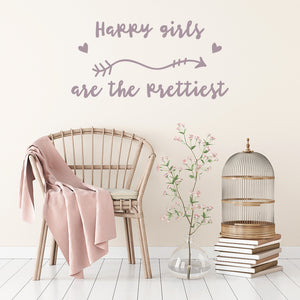 Happy girls are the prettiest | Wall Quote | Wall Quote | Adnil Creations