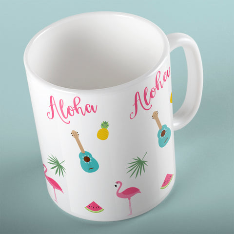 Aloha with guitars and flamingo Mug