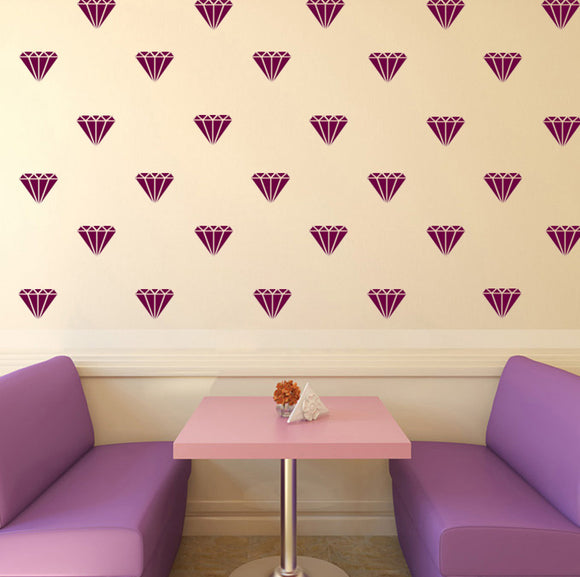 Set of 50 Diamonds Wall Stickers | 3 sizes available to choose from