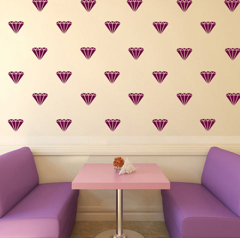 Set of 50 Diamonds Wall Stickers - 4 sizes available to choose from - Repeating Pattern - Adnil Creations