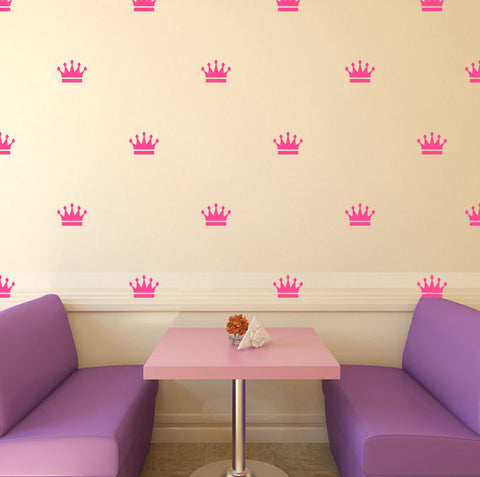 Set of 50 Crowns Wall Stickers - 4 sizes available to choose from - Repeating Pattern - Adnil Creations