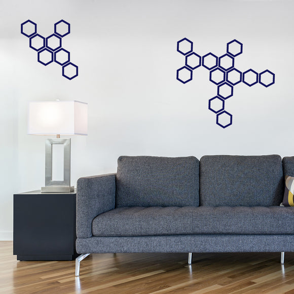 Set of 50 Hollow Hexagon Wall Stickers | 4 sizes available to choose from