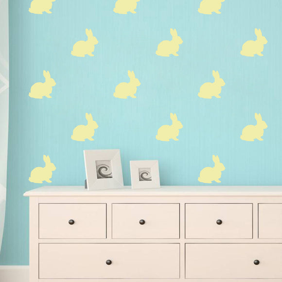 Set of 50 Bunny Rabbits Wall Stickers | 5 sizes available to choose from | Repeating Pattern | Adnil Creations