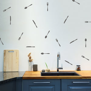 Set of 50 Cutlery Wall Stickers | 2 sizes available to choose from | Repeating Pattern | Adnil Creations