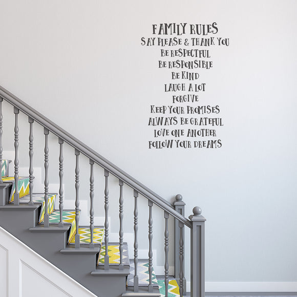 Family rules | Wall Quote | Wall Quote | Adnil Creations