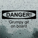 DANGER! Grumpy git on board | Bumper Sticker | Bumper Sticker | Adnil Creations
