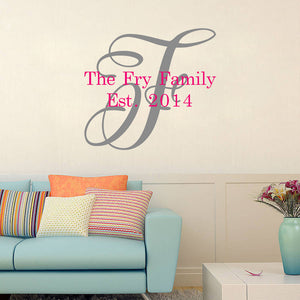 Family Est. | Monogram Name Decal - Adnil Creations