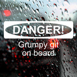 DANGER! Grumpy git on board - Bumper Sticker - Adnil Creations