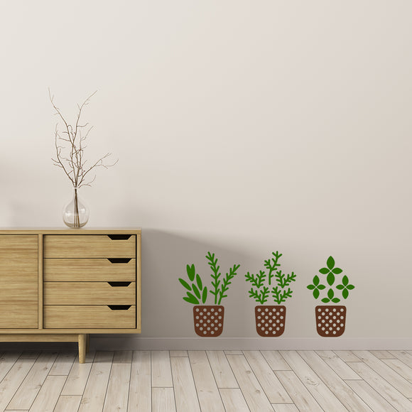 Herb pots | Wall Decal | Wall Art | Adnil Creations
