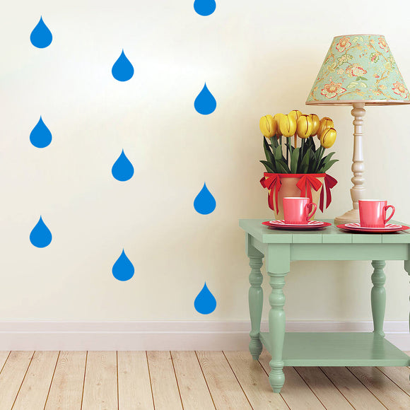 Set of 50 Rain drop Wall Stickers | 5 sizes available to choose from | Repeating Pattern | Adnil Creations