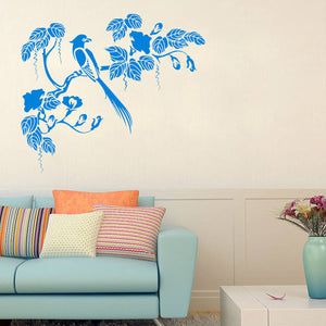 Bird and Flowers | Wall Decal | Wall Art | Adnil Creations