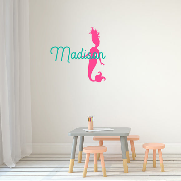 Mermaid with name  | Monogram Decal - Adnil Creations