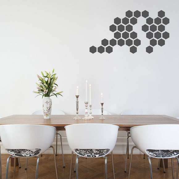 Set of 50 Hexagon Wall Stickers | 5 sizes available to choose from | Repeating Pattern | Adnil Creations