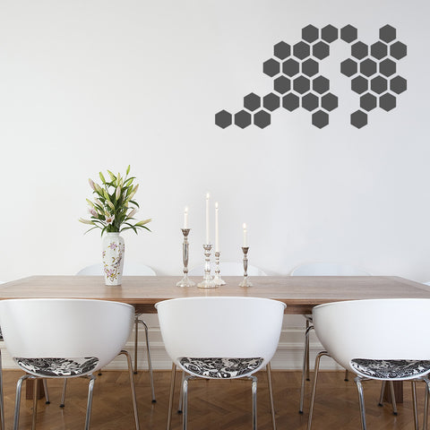 Set of 50 Hexagons Wall Stickers - 3 sizes available to choose from