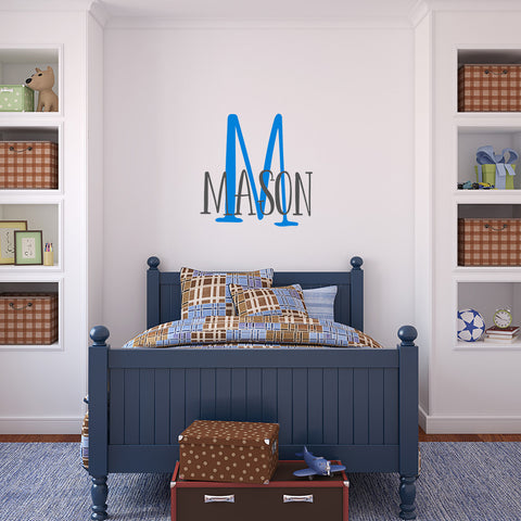 Simple two colour monogram decal | Boy's bedroom