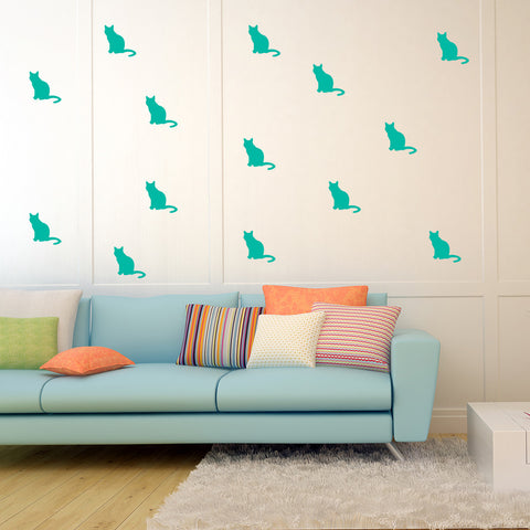 Set of 50 Cats Wall Stickers - 3 sizes available to choose from