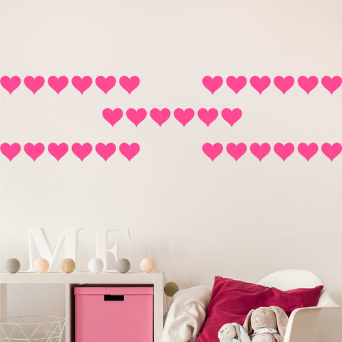 Set of 50 Hearts Wall Stickers - 3 sizes available to choose from
