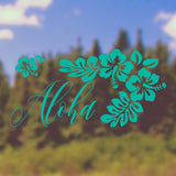 Aloha with Hibiscus | Bumper Sticker | Bumper Sticker | Adnil Creations