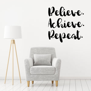Believe achieve repeat | Wall Quote | Wall Quote | Adnil Creations